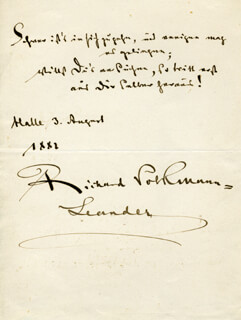 Autographs: RICHARD LEANDER VOLKMANN - AUTOGRAPH QUOTATION SIGNED 08/03/1882