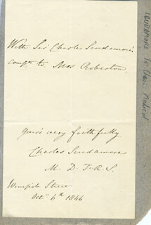 SIR CHARLES SCUDAMORE - AUTOGRAPH NOTE DOUBLE SIGNED 10/04/1846