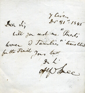 ALFRED SMEE - AUTOGRAPH LETTER SIGNED 12/31/1845