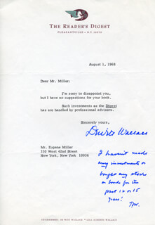 DEWITT WALLACE - TYPED LETTER SIGNED 08/01/1968