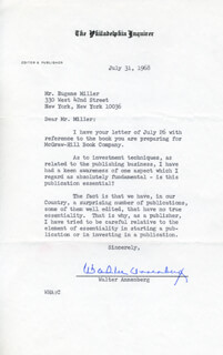 Autographs: WALTER H. ANNENBERG - TYPED LETTER SIGNED 07/31/1968
