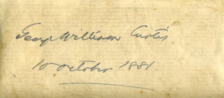 GEORGE WILLIAM CURTIS - AUTOGRAPH 10/10/1881