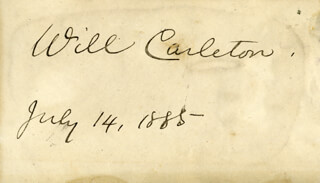 WILL CARLETON - AUTOGRAPH 07/14/1885