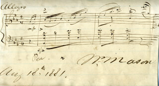 WILLIAM MASON - AUTOGRAPH MUSICAL QUOTATION SIGNED 08/18/1881