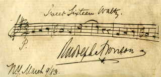 Autographs: RUDOLPH ARONSON - AUTOGRAPH MUSICAL QUOTATION SIGNED 03/09/1883