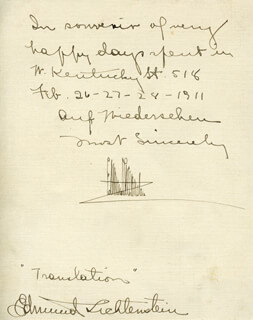 EDMUND LICHTENSTEIN - AUTOGRAPH NOTE DOUBLE SIGNED 02/28/1911
