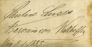 BARONESS PAULINE LUCCA - AUTOGRAPH 08/01/1883