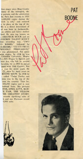PAT BOONE - PROGRAM PAGE SIGNED