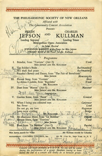 HELEN JEPSON - PROGRAM SIGNED CIRCA 1945 CO-SIGNED BY: CHARLES KULLMANN