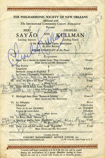 BIDU SAYAO - PROGRAM SIGNED CIRCA 1945 CO-SIGNED BY: CHARLES KULLMANN