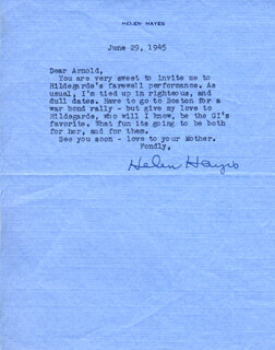 HELEN HAYES - TYPED LETTER SIGNED 06/29/1945
