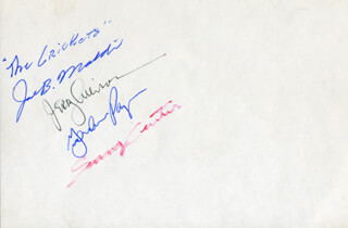THE CRICKETS - AUTOGRAPH CO-SIGNED BY: THE CRICKETS (GORDON PAYNE), THE CRICKETS (JERRY ALLISON), THE CRICKETS (JOE B. MAULDIN), THE CRICKETS (SONNY CURTIS)