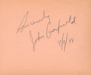 JOHN GARFIELD - AUTOGRAPH SENTIMENT SIGNED 04/30/1940