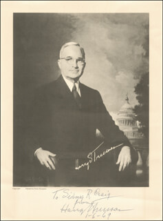 PRESIDENT HARRY S TRUMAN - AUTOGRAPHED INSCRIBED PHOTOGRAPH 01/06/1969