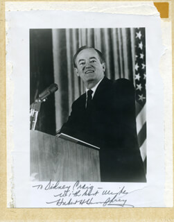 VICE PRESIDENT HUBERT H. HUMPHREY - AUTOGRAPHED INSCRIBED PHOTOGRAPH