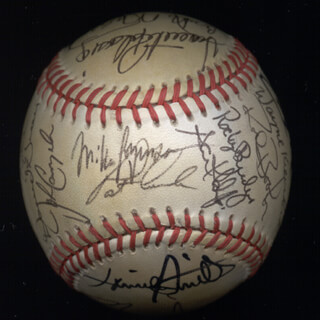 Autographs: TOBY HARRAH - BASEBALL SIGNED CO-SIGNED BY: WAYNE CHICK KRENCHICKI, LONNIE SKATES SMITH, DAVE GREEN, TOM McCRAW, BAKE McBRIDE, ROCKY BRIDGES, DUFFY DYER, PAT IKE CORRALES, JOHN CANGELOSI, TITO LANDRUM, VICENTE PALACIOS, PAUL NOCE, ROD BOOKER