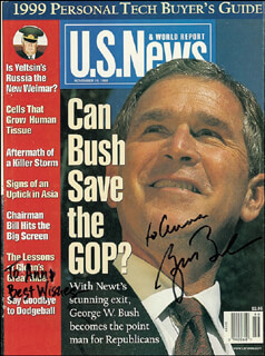 PRESIDENT GEORGE W. BUSH - INSCRIBED MAGAZINE COVER SIGNED