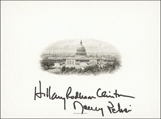 FIRST LADY HILLARY RODHAM CLINTON - WHITE HOUSE ENGRAVING SIGNED CO-SIGNED BY: NANCY PELOSI