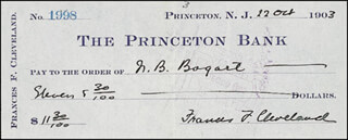 FIRST LADY FRANCES F. CLEVELAND - AUTOGRAPHED SIGNED CHECK 10/22/1903
