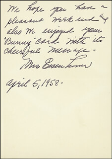 FIRST LADY MAMIE DOUD EISENHOWER - AUTOGRAPH LETTER SIGNED 04/05/1958