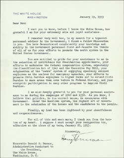PRESIDENT HARRY S TRUMAN - TYPED LETTER SIGNED 01/19/1953