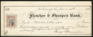 PRESIDENT BENJAMIN HARRISON - AUTOGRAPHED SIGNED CHECK 06/04/1873