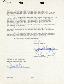 STEVEN SPIELBERG - DOCUMENT SIGNED