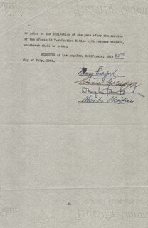 MARY PICKFORD - CONTRACT SIGNED 07/22/1936 CO-SIGNED BY: CHARLIE THE LITTLE TRAMP CHAPLIN, SAMUEL GOLDWYN, DOUGLAS FAIRBANKS SR.