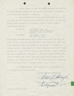Autographs: TONY CURTIS - CONTRACT SIGNED 09/19/1958 CO-SIGNED BY: ROBERT F. BLUMOFE