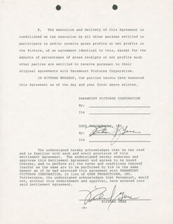 RICHARD GERE - DOCUMENT SIGNED 01/28/1986