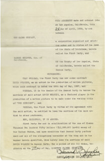 HOWARD HUGHES - CONTRACT SIGNED 04/28/1928 CO-SIGNED BY: JOSEPH W. ENGEL