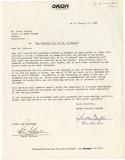 PETER SELLERS - DOCUMENT SIGNED 01/24/1980