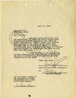 Autographs: CLARA BOW - CONTRACT SIGNED 04/12/1926 CO-SIGNED BY: SAM (PRODUCER) JAFFE