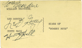 Autographs: BOWERY BOYS TV CAST - SIGNATURE(S) CO-SIGNED BY: LEO B. GORCEY, HUNTZ HALL, WILLIAM BEAUDINE