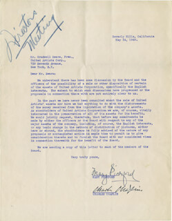 Autographs: CHARLIE THE LITTLE TRAMP CHAPLIN - TYPED LETTER SIGNED 05/24/1949 CO-SIGNED BY: MARY PICKFORD