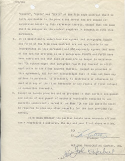 ABBOTT & COSTELLO (LOU COSTELLO) - CONTRACT SIGNED 12/15/1952