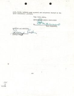 Autographs: GEORGE D. CUKOR - CONTRACT SIGNED 07/15/1936 CO-SIGNED BY: EDDIE MANNIX