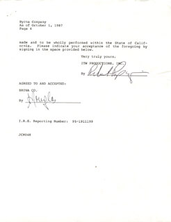 MICHAEL DOUGLAS - DOCUMENT SIGNED 10/01/1987
