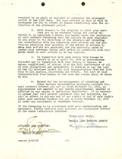 ERROL FLYNN - CONTRACT SIGNED 03/12/1952