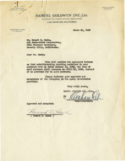 HOWARD W. HAWKS - CONTRACT SIGNED 03/31/1936