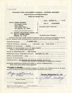 ALFRED HITCHCOCK - CONTRACT SIGNED 10/10/1977
