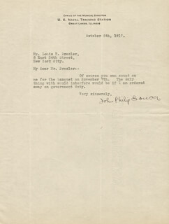 JOHN PHILIP THE MARCH KING SOUSA - TYPED LETTER SIGNED 10/06/1917