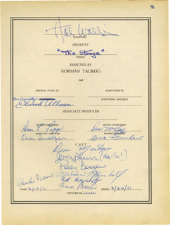 THE STOOGE MOVIE CAST - DOCUMENT SIGNED CO-SIGNED BY: FRANCES E. BAVIER, DEAN MARTIN, POLLY BERGEN, HAL B. WALLIS, JERRY LEWIS, OSCAR RUDOLPH, MARION MARSHALL, EDDIE MAYEHOFF, ELWOOD ULLMAN, CHARLES EVANS, DANIEL L. FAPP, DON McKAY, DICK BRANDON