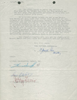 MARTIN & LEWIS - CONTRACT SIGNED 12/08/1955 CO-SIGNED BY: DEAN MARTIN, JERRY LEWIS
