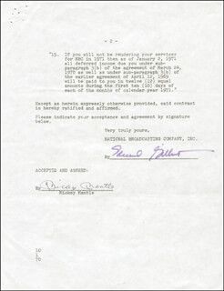 MICKEY MANTLE - CONTRACT SIGNED 09/15/1970
