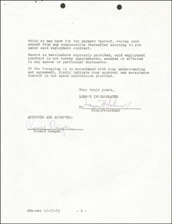 Autographs: PRESIDENT RONALD REAGAN - CONTRACT SIGNED 12/16/1953