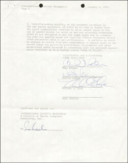 THE BEACH BOYS - CONTRACT SIGNED 01/09/1975 CO-SIGNED BY: THE BEACH BOYS (DENNIS WILSON), THE BEACH BOYS (MIKE LOVE), THE BEACH BOYS (CARL WILSON)