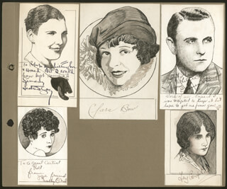 Autographs: ROBERT L WHITTINGTON - ORIGINAL ART UNSIGNED BUT SIGNED BY ISABEL JEANS, SALLY O'NEIL, MILTON SILLS, CLARA THE IT GIRL BOW, FAY COMPTON, BETTY BALFOUR, EDMUND BURNS, MAE BUSCH