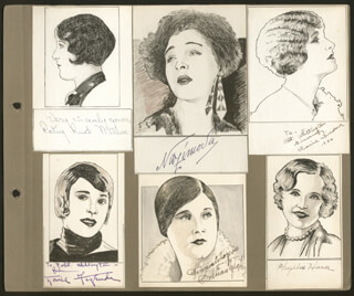 Autographs: GARY COOPER - INSCRIBED ORIGINAL ART SIGNED CO-SIGNED BY: PATSY RUTH MILLER, GILDA GRAY, ALLA NAZIMOVA, LOUISE FAZENDA, CLAIRE WINDSOR, MARIA CORDA, LILLIAN RICH, PHYLLIS HAVER