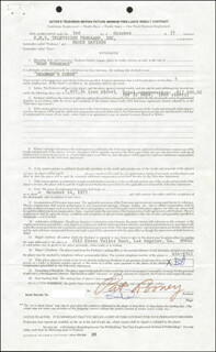 BRUCE DAVISON - CONTRACT SIGNED 10/03/1977 CO-SIGNED BY: PAT ROONEY
